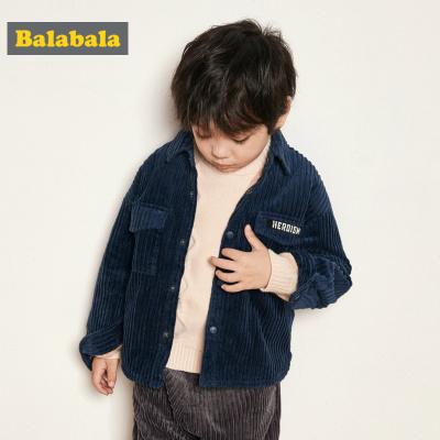 巴拉巴拉童装男童衬衫长袖秋冬儿童保暖衬衣小童洋气加绒灯芯绒厚