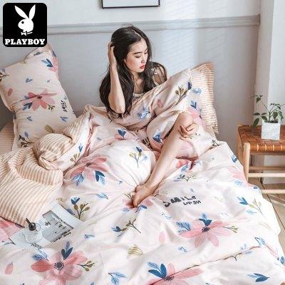花花公子(PLAYBOY) 純棉親膚床上用品四件套1.5/1.8m全棉床單款加厚秋冬床單被套三件套床上用品