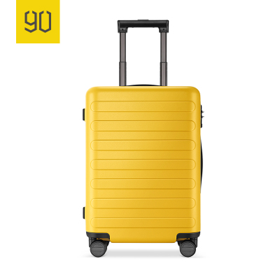 90分商旅兩用旅行箱靜音萬向輪商務登機行李箱子 男女密碼拉桿箱 櫻草黃 24寸