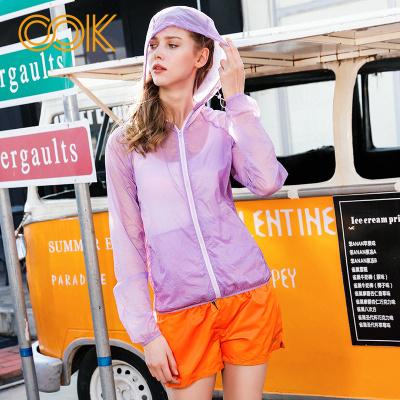 OOK紫色轻薄户外沙滩防晒连帽比基尼罩衫防晒衣