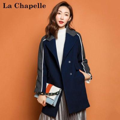 拉夏貝爾candie's秋冬新韓版學院風寬松顯瘦羊毛呢外套女30074028