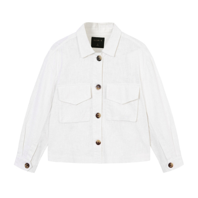 【2件3折價:54.9】Semir森馬夾克女2019夏季新款寬松翻領大口袋長袖工裝外套棉麻上衣潮