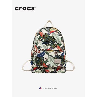 2020早春美国crocs包包女帆布休闲轻便尼龙书包背包双肩包印花潮