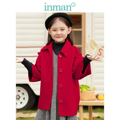 茵曼INMAN儿童呢大衣2018秋冬新款女童装100%羊毛双面呢子时尚都市大衣红色7分袖大童外套