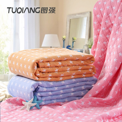 圖強 海星床毯雙人加大紗布毛巾被純棉毛巾毯午睡毯辦公室蓋毯可鋪可蓋居家毯子