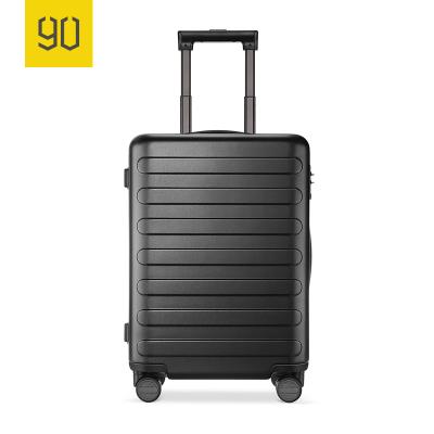 90分商旅兩用旅行箱靜音萬向輪商務登機行李箱子 男女密碼拉桿箱 暗夜黑 24寸