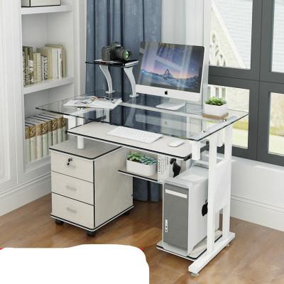 妙旭鋼化玻璃電腦桌臺式家用簡約現代環保書桌學習辦公桌三抽屜1.2米