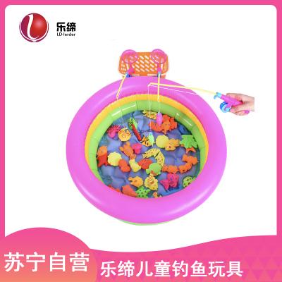 樂締兒童釣魚玩具戲水磁性釣魚池套裝小孩寶寶益智玩具1-3歲