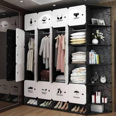罗森朗 简易衣柜组装塑料布艺单人家用柜子卧室租房仿实木收纳柜钢架衣橱