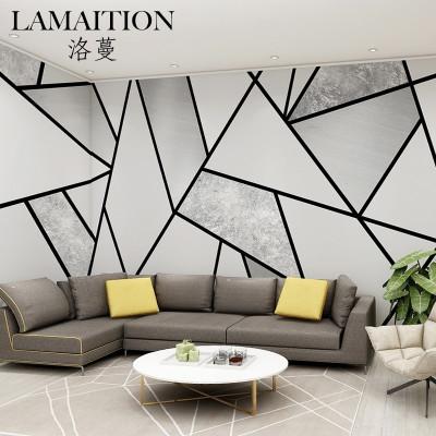 洛蔓壁紙 客廳沙發臥室電視背景墻布壁畫定制 無縫整張 3d現代簡約抽象線條方塊立體