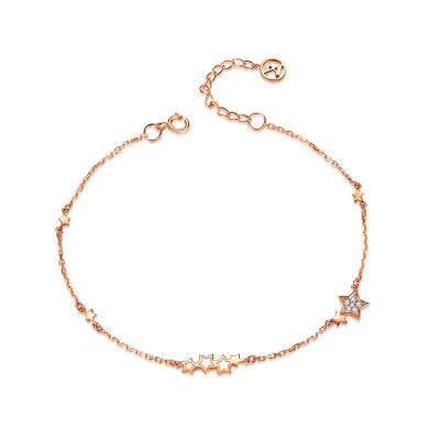 佐卡伊zocai 繁星 18k金玫瑰彩金女士星星鉆石手鏈時尚款送女友正品珠寶