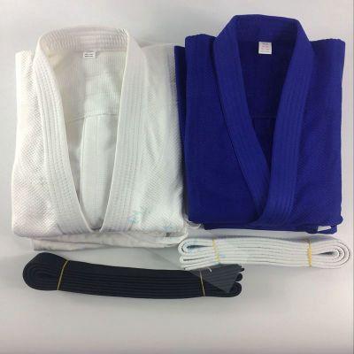 因樂思(YINLESI)專業比賽使用柔道服 訓練服 竹節紋純棉 白藍道服柔術 兒童款 藍色 180 cm 均碼