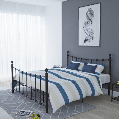 北歐鐵藝床1.2米單人鐵架床現代簡約ins網紅床1.5米1.8鐵床雙人床