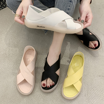 尚恩麥品牌2020夏新款學生平底涼鞋女軟底百搭防滑孕婦牛筋底孕婦媽媽魚嘴鞋