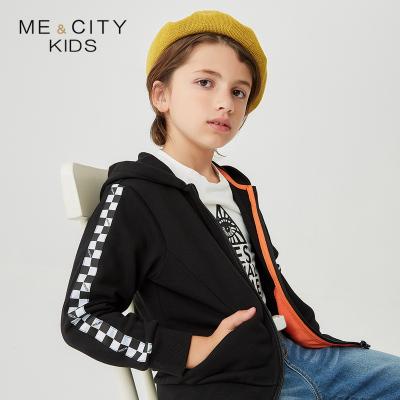 【1件2.7折:64.5】米喜迪mecity童裝春新款男童袖子棋盤格織帶裝飾連帽針織開衫