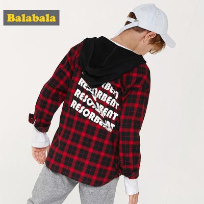 【1件5折】巴拉巴拉男童衬衫儿童衬衣长袖2019新款春季中大童童装格子衫外套