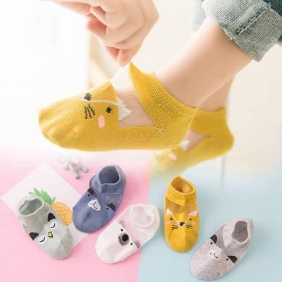 依藍圣雪兒童襪子夏季薄款眼船襪透氣女童水晶襪寶寶春冰絲襪