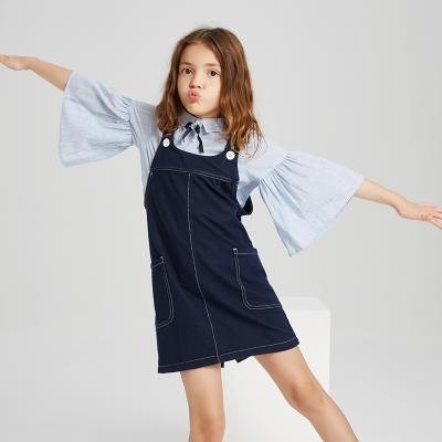 【3件1.5折价:44.9】米喜迪mecity童装新款女童连衣裙秋装简洁