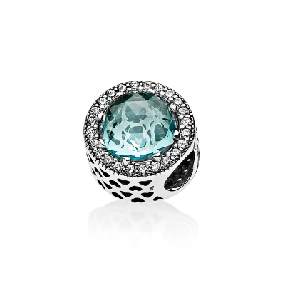 PANDORA潘多拉 冰河藍閃耀之心 925銀串飾-791725NGL