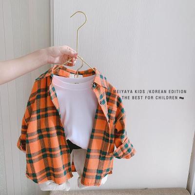 問荷 2020童裝男女童寬松格子襯衫春兒童新款韓版長袖襯衣寶寶襯衫