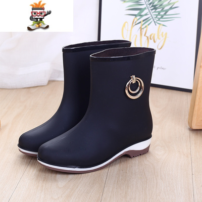 时尚雨鞋女士中筒雨靴短筒防水靴加绒保暖防滑胶鞋春冬两用雨鞋