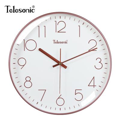 天王星(Telesonic)北歐簡約掛鐘客廳圓形靜音創意時鐘臥室餐廳裝飾石英鐘表 靜音掃秒機芯