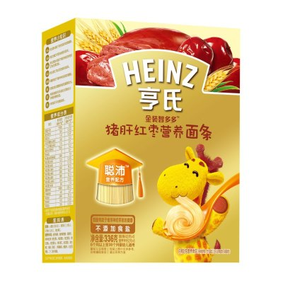 Heinz/亨氏金装智多多猪肝红枣营养面条336g 适用辅食添加初期以上至36个月 婴儿面条宝宝辅食面条碎面无添加无盐荤