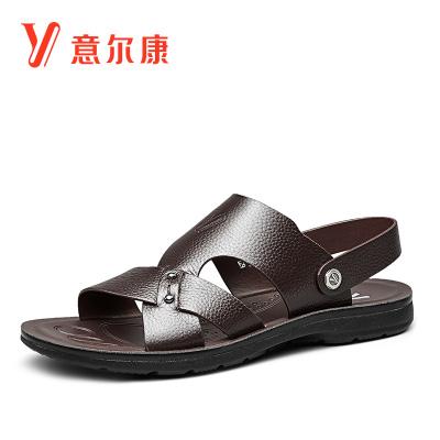 意爾康涼鞋男2020夏季新款涼鞋真皮沙灘鞋舒適套腳平底輕便透氣穿脫兩用涼皮鞋拖鞋爸爸鞋