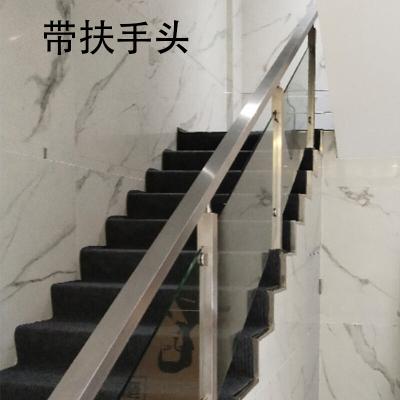 玻璃楼梯扶手栏杆 阳台护栏免扶手不锈钢立柱 方管楼梯围栏