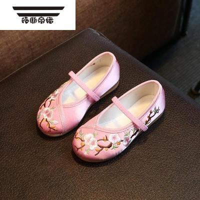 學生兒童鞋寶寶復古公主中國兒童布鞋女女童民族繡花鞋子古代