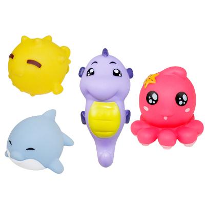 港比熊玩具婴儿宝宝洗澡戏水玩具卡通软胶捏捏叫洗澡游泳戏水玩具套装1-3-6岁男孩女孩浴室戏水玩具KMK3288/颜色随机