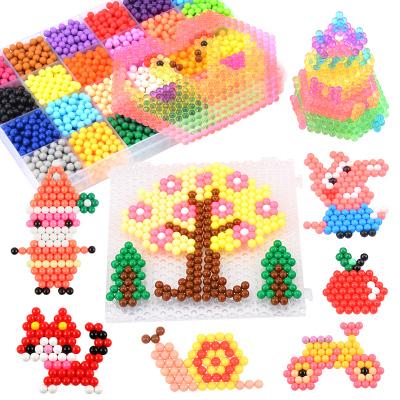神奇水霧魔珠 兒童手工diy水粘珠益智塑膠幼兒園玩具套裝拼拼豆豆 1600粒+透明色400粒袋裝帶配件 速翔玩具