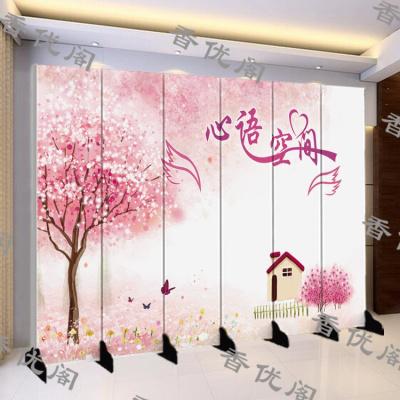 屏风隔断客厅简约现代中式装饰墙酒吧办公室布艺移动实木玄关屏定制!