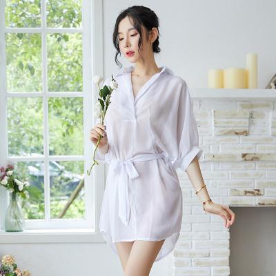 SHIZHEN韓版襯衣女中長款情趣睡衣性感bf風白襯衫女惰趣透明薄紗雪紡睡裙