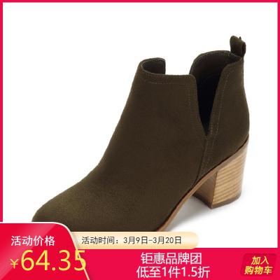 2018冬靴新款及踝靴粗中跟裸靴短筒馬丁靴女士短靴子1017605014
