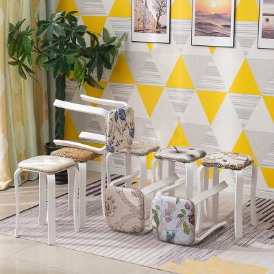 唐臻實木圓凳子家用成人餐椅北歐軟包布藝簡約小凳子現代高凳木頭板凳