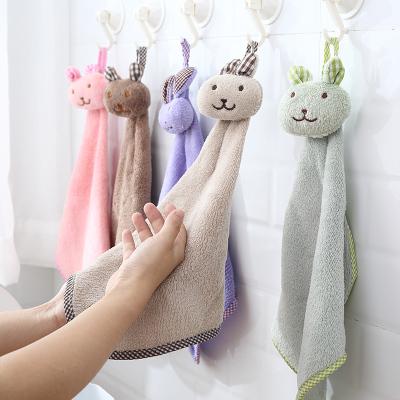 浴室掛式珊瑚絨可愛擦手搽手巾廚房抹布手帕雙面加厚卡通吸水毛巾