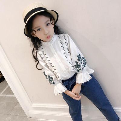 女童衬衫长袖中大童秋装上衣洋气小衫2018新款绣花白衬衣上衣