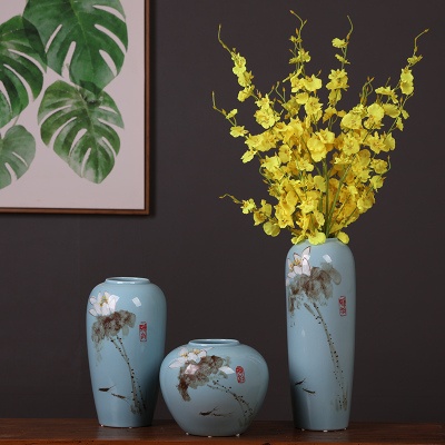 古笙记 景德镇陶瓷创意手绘三件套花瓶插花摆件新中式禅意客厅家居装饰品