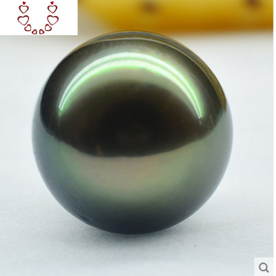 天然海水大溪地黑珍珠粉裸珠 定制吊墜戒指單顆孔雀綠強光無暇 Chunmi