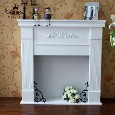魔友MOYOU新款象牙白咖啡色棕色歐式田園家具地中海壁架白色壁爐裝飾柜