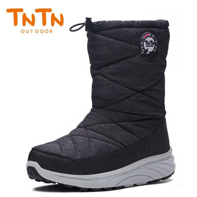 TNTN户外冬季保暖防水厚底俄罗斯东北羊毛加绒男女鞋雪乡地棉靴子(爵士黑)