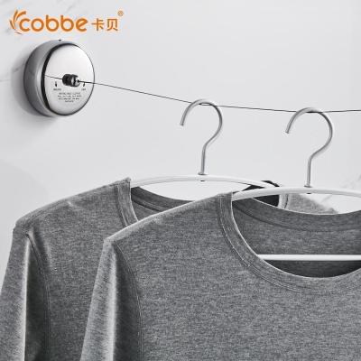 卡贝(cobbe)隐形晾衣绳室内免打孔不锈钢丝晾衣架晾衣神器可伸缩晾衣绳子 升级款-方刚丝3.5M【钻雕金】