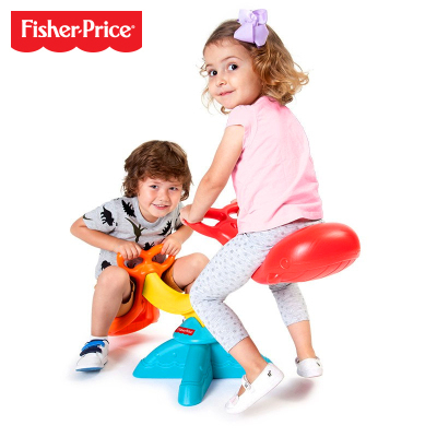 費雪Fisher-Price兒童蹺蹺板 鯨魚搖擺樂 幼兒園寶寶室內外雙人馬游戲玩具男女孩2-5歲 GHP02