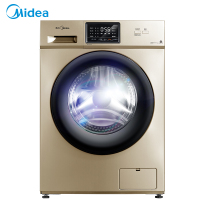 美的10公斤新品全自动滚筒洗脱一体洗衣机 变频静音 家用金色 巴氏除菌洗