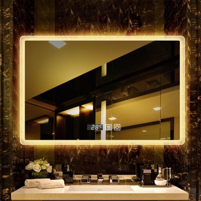法兰棋卫生间LED浴室镜子 挂墙带灯洗手间卫浴镜无框喷砂厕所镜子