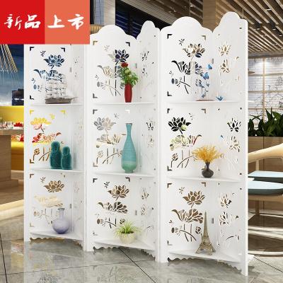 歐式屏風隔斷折疊客廳簡約現代臥室家用遮擋簡易鏤空雕花移動折屏 三維工匠