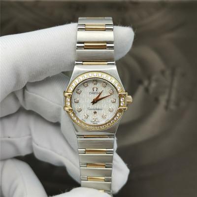 【二手95新】歐米茄星座系列18K黃金精鋼材質石英原鑲鉆女表正品1360.75.00 女士手表腕表五十周年紀念版