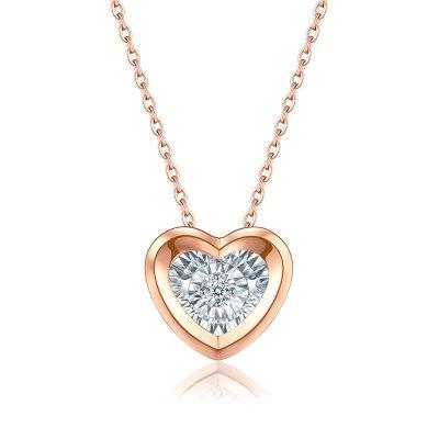 佐卡伊 怦然心动 会跳舞的钻石项链女真钻18k灵动彩金锁骨链吊坠