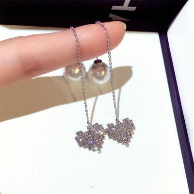 韓國時尚氣質S925純銀耳環簡約百搭長款吊墜愛心網紅耳墜珍珠女個性心型耳線流蘇耳飾耳鏈飾品